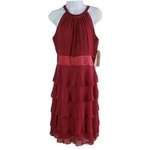 Evan Picone Dress NEW Halter Tiered Ruffle Red